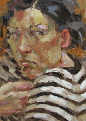 Oil on Board, Self Portrait Shoulder, Anne Petty