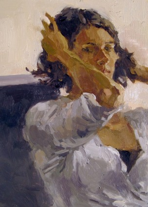 Oil on Board, Self Portrait Hands Up, Anne Petty